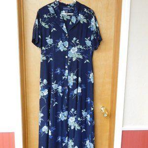 Vintage Blue Floral Rayon Dress
